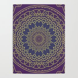Mandala - purple and gold Poster
