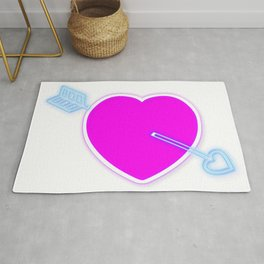 Neon pink love heart and blue arrow Rug