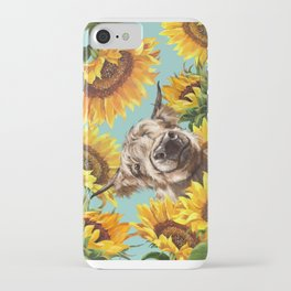 Highland Cow with Sunflowers in Blue iPhone Case