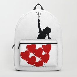 Girl With Heart Balloons Backpack
