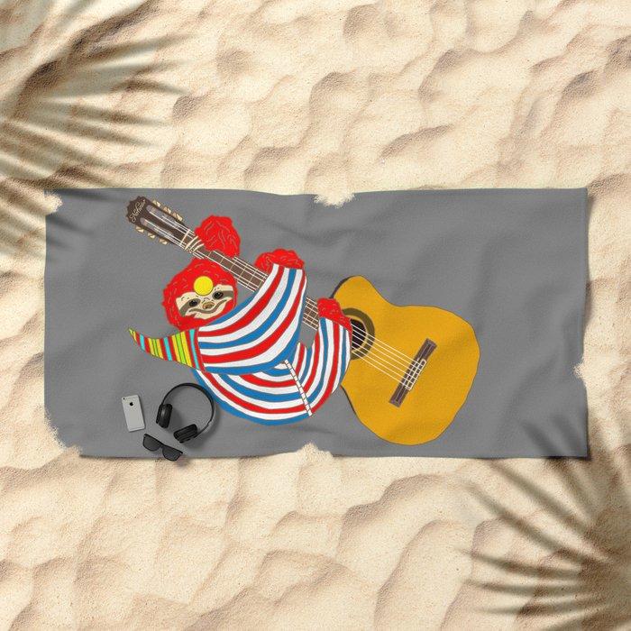 Heroes Sloth Vintage Guitar Beach Towel