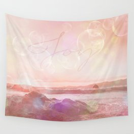 Joy at the sea bubbles sunst ocean typography art Wall Tapestry