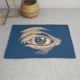 Retro Vintage Blue Eye Pattern Rug