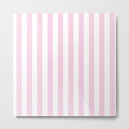 Pastel pink white modern geometric stripes Metal Print