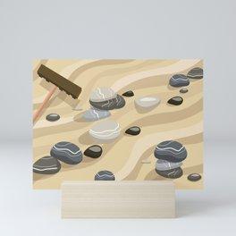 Zen Garden Sand Stones and Rake Mini Art Print