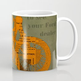 Orange and green abstract motorcycle, man cave decoration, gift for him Coffee Mug
