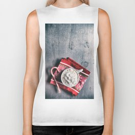 Christmas Cocoa With Candy Cane Biker Tank