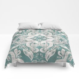 Teal and grey dirty denim textured boho pattern Comforters