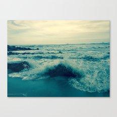 Waves crashing against rocks   Beach Canvas Print