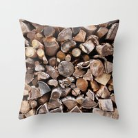 pocket fuel Throw Pillows featuring WOODEN FUEL by Connor Merrick