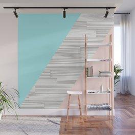 Abstract gray wood coral aqua color block Wall Mural