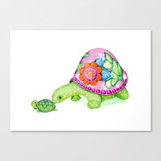 Mom and Baby Turtle Canvas Print