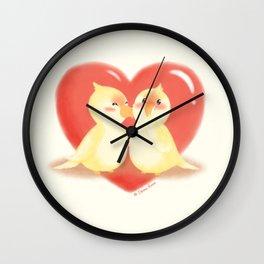 Lovebirds kiss Wall Clock