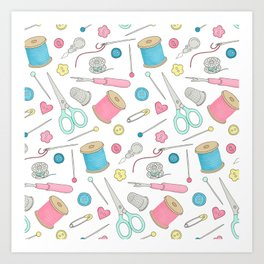 Sewing Notions pattern - cotton reels, scissors, buttons and pins Art Print