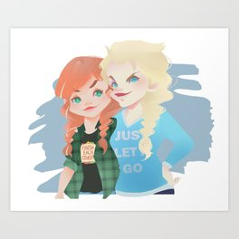 Anna y Elsa Art Print