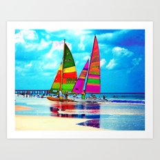 Neon Sailboats -Daytona Beach Art Print