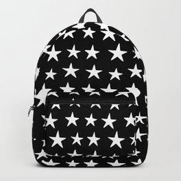 Star Pattern White On Black Backpack