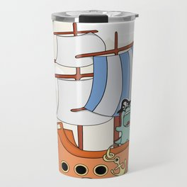 Dinosaur on a ship Travel Mug