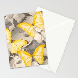Yellow Butterflies on Dark Floral Background #decor #society6 #buyart Stationery Cards