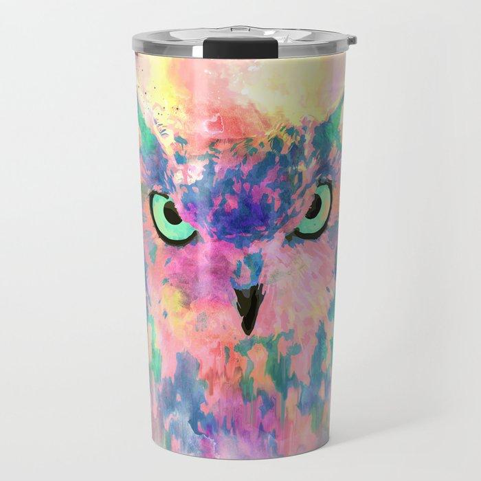 Watercolor eagle owl abstract paint Travel Mug