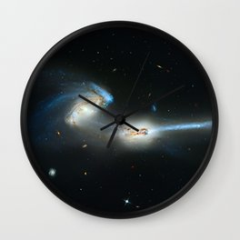 Colliding galaxies, Mice Galaxies, spiral galaxies in constellation Coma Berenices. Wall Clock