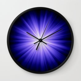 Blue and White Sunburst Abstract Wall Clock