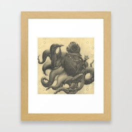 Scuba Diver with Crab Hands Framed Art Print