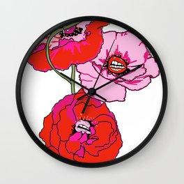 Lip Poppies Wall Clock