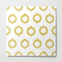 Mustard Ikat Metal Print