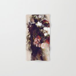 The girl with the flowers in her hair Hand & Bath Towel