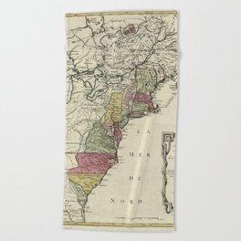 Colonial America Map by Matthaus Lotter (1776) Beach Towel