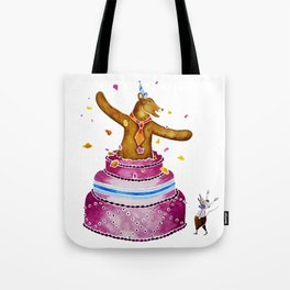 Bob Bear Bursts Out Of The Cake Tote Bag