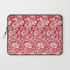 "William Morris Floral Pattern | ""Pink and Rose"" in Red and White Laptop Sleeve"