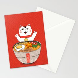 Liter of Ramen. Japanese soup and Manekineko cat. Stationery Cards