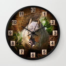 Autumn Squirrel at Lunch Wall Clock