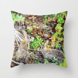 Two Wild Rabbits Throw Pillow