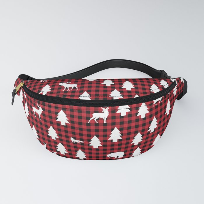Woodland Pattern: Red Buffalo Plaid Fanny Pack