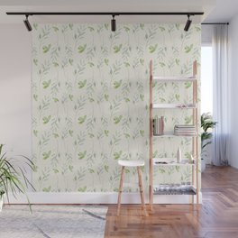 Hand painted watercolor pastel green ivory leaves floral Wall Mural