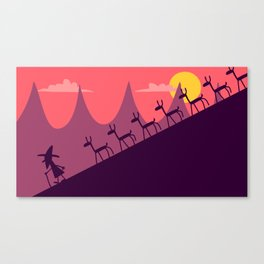 THE GOAT HERDER AND HIS LOTS AND LOTS AND LOTS OF GOATS - DOWN THE MOUNTAIN Canvas Print
