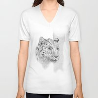 leopard V-neck T-shirts featuring Leopard by Anna Tromop Illustration