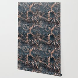 Blue & Rose Gold Marble Wallpaper