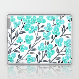 Cherry Blossoms – Turquoise & Black Palette Laptop & iPad Skin