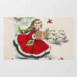 Vintage Christmas Girl Rug