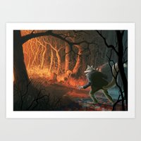 red riding hood Art Prints featuring Little red riding hood by Nicolas Villeminot