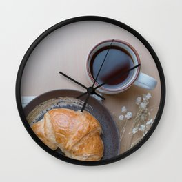 Croissant and black coffee Wall Clock