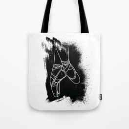 Outline of Ballet Pointe Shoes on Black Background Tote Bag
