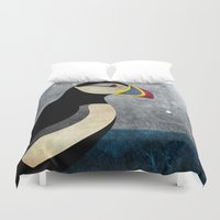puffin Duvet Covers featuring puffin by John Beswick