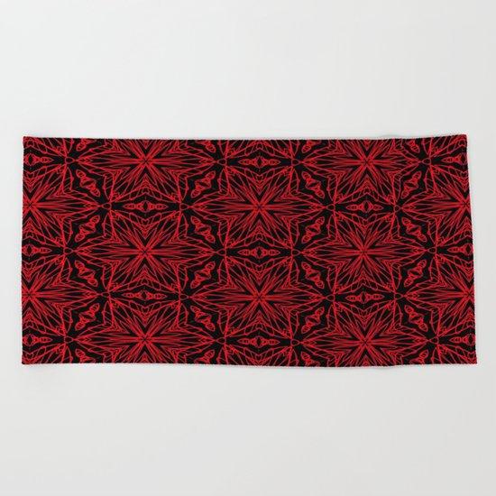 Black and red geometric flowers 5006 Beach Towel