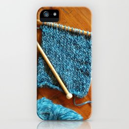 knitting photo, denim, denim photo, blue, wood, knitting, knit, brown, iPhone Case