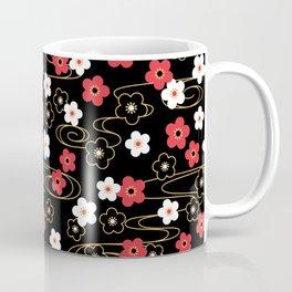 Black Sakura Kimono Pattern Coffee Mug